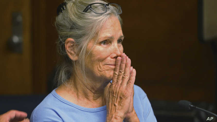 Leslie Van Houten reacts after hearing she is eligible for parole during a hearing on Sept. 6, 2017 at the California Institution for Women in Corona, Calif.
