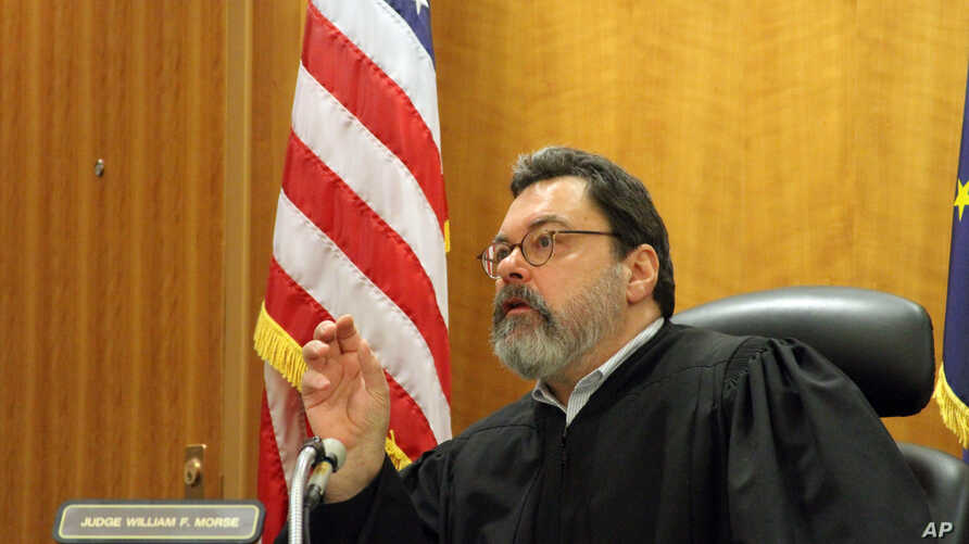 Alaska Superior Court Judge William Morse gestures while questioning Sen. Bill Wielechowski, D-Anchorage, during a hearing Nov. 17, 2016, in Anchorage, Alaska. Morse ruled against Wielechowski, who sued the state along with two former lawmakers, cont