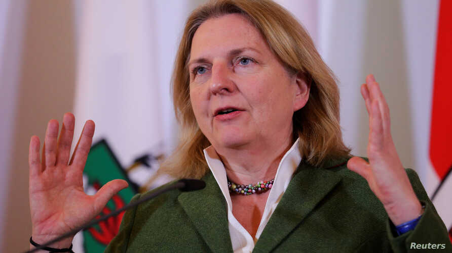 FILE - Austria's Foreign Minister Karin Kneissl addresses the media after a cabinet meeting in Vienna, Austria, April 4, 2018.