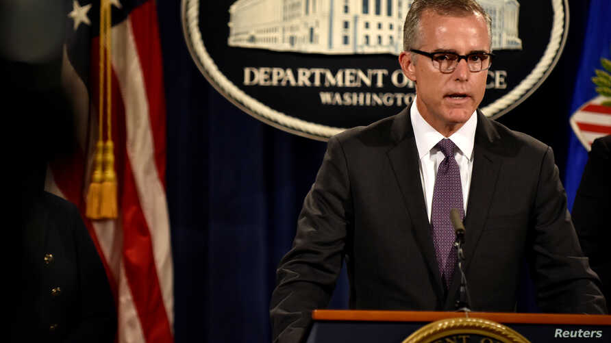 FBI Deputy Director Andrew McCabe holds a press conference in Washington July 20, 2016.
