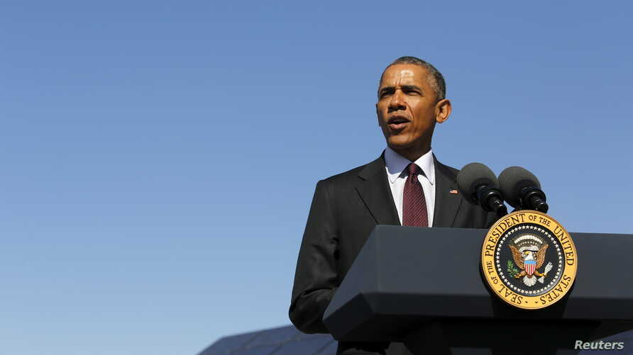 U.S. President Barack Obama delivers remarks on clean energy after a tour of a solar power array at Hill Air Force Base, Utah, April 3, 2015.