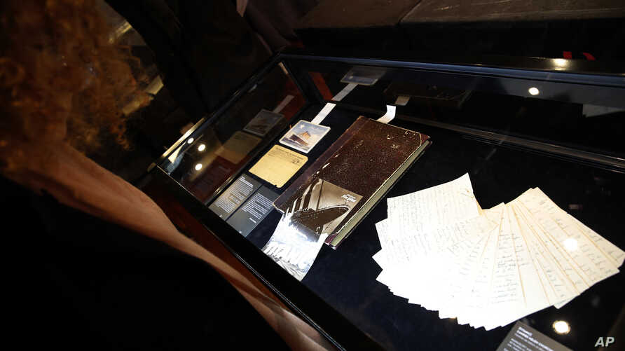 Original manuscripts by American author, Helen Churchill Candee are on display prior to the auction of the Aristophil Collections, in Paris,  Dec. 19, 2017. Helen Churchill Candee is best known as a survivor of the sinking of Titanic in 1912.