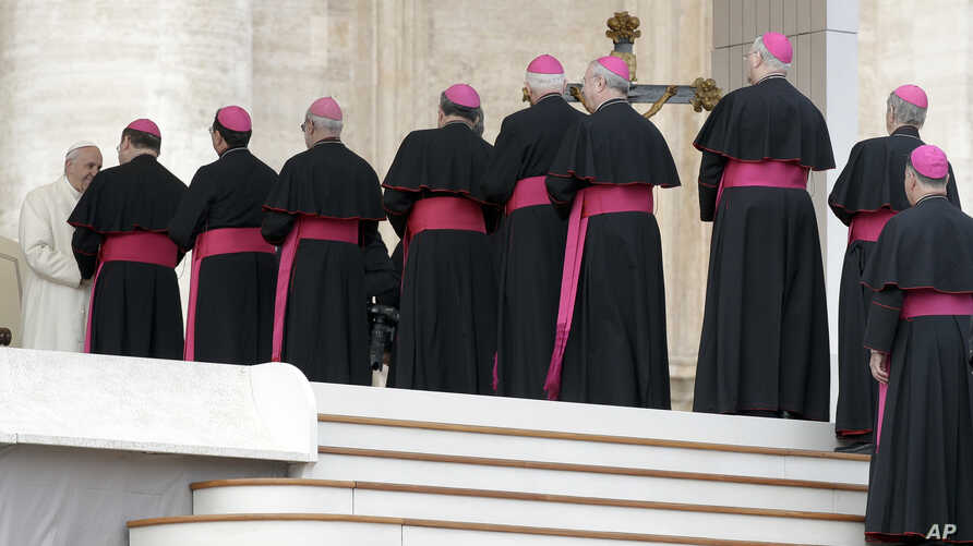 Bishops line up to greet Pope Francis during his weekly general audience, in St. Peter's Square, at the Vatican, Jan. 31, 2018.