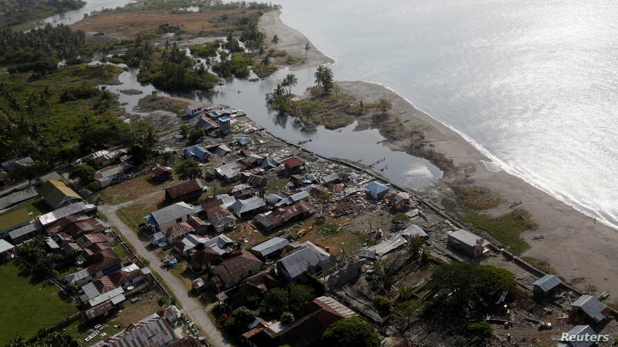 A view of earthquake and tsunami damage in Sirenja, Donggala Regency, Central Sulawesi, Indonesia, Oct. 5, 2018.