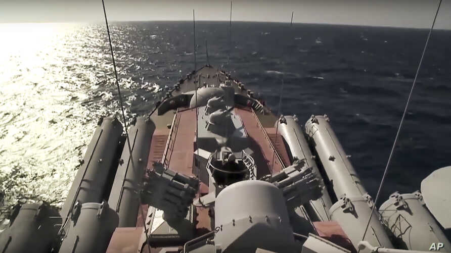 The Russian missile cruiser Moskva sails near the Syrian coast in this photo made from video posted to the Russian Defense Ministry official web site on Friday, Nov. 27.