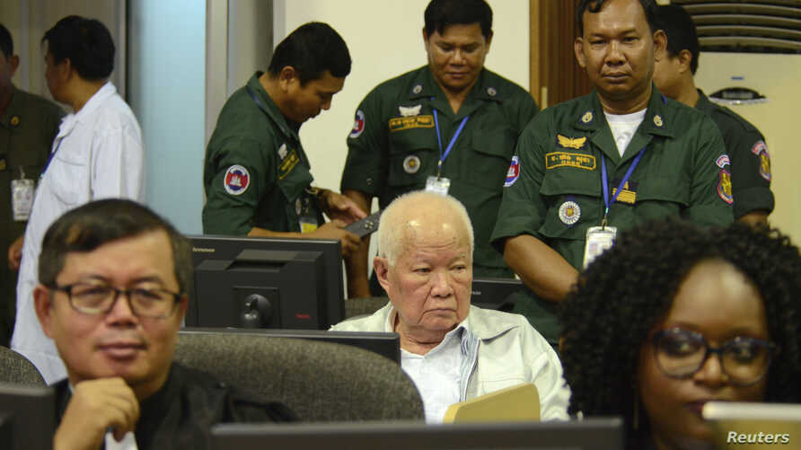 FILE - Former Khmer Rouge head of state Khieu Samphan sits at the courtroom of the Extraordinary Chambers in the Courts of Cambodia (ECCC) as he awaits a verdict, on the outskirts of Phnom Penh, Cambodia, Nov. 16, 2018. (ECCC's handout via Reuters)