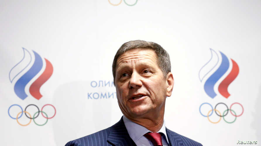 FILE - Russian Olympic Committee head Alexander Zhukov addresses journalists after an extraordinary meeting on issues, connected with Russian athletics team and federation, and held by the executive committee of the Russian Olympic Committee in Mosco