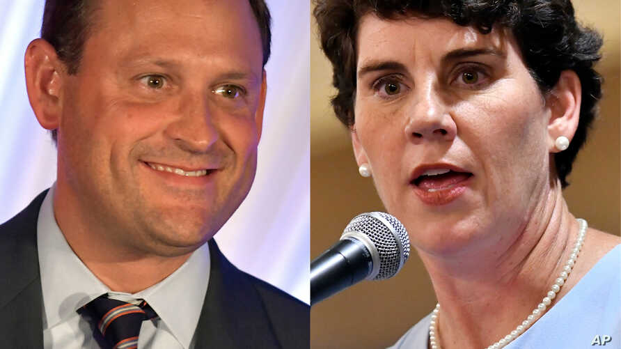 From left, Kentucky 6th congressional district candidates Republican Rep. Andy Barr and Democratic challenger Amy McGrath.