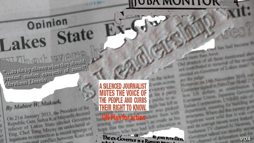 A montage of the Juba Monitor newspaper and an excerpt from the UN Plan for the Safety of Journalists. Four print runs of the Juba Monitor have been seized since South Sudan erupted in violence in December.