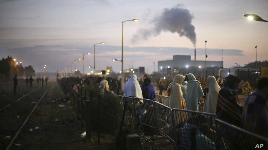 """France Migrants: Migrants wait to register outside a processing center in the makeshift migrant camp known as """"the jungle"""" near Calais, northern France, Wednesday, Oct. 26, 2016."""