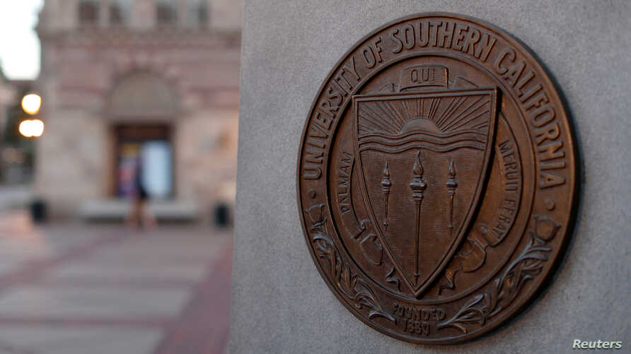 A plaque is pictured at University of Southern California in Los Angeles, California, U.S., March 13, 2019.