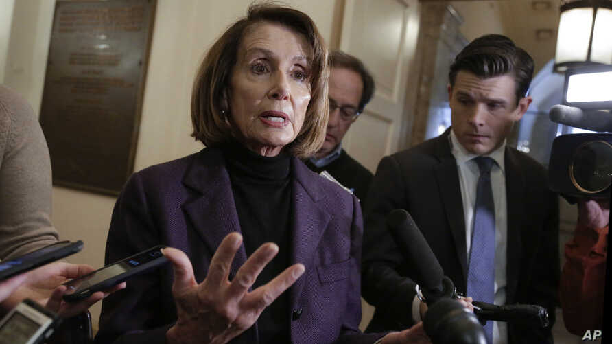 FILE -Speaker of the House Nancy Pelosi, D-Calif., takes questions from reporters on Capitol Hill in Washington on Jan. 18, 2019.