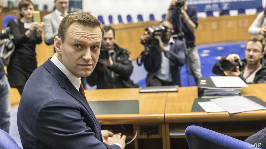 Russian opposition activist Alexei Navalny is pictured prior to a hearing at the European Court of Human Rights in Strasbourg, France, Jan. 24, 2018.