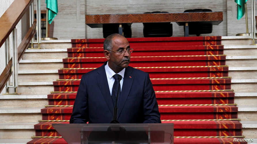 Patrick Achi, the secretary general of the presidency, speaks during the announcement of the new government at the presidential palace in Abidjan, Ivory Coast, July 10, 2018.