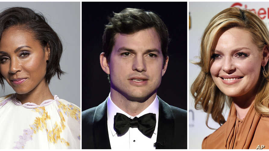 FILE - This combination photo shows, from left, actors Jada Pinkett Smith, Ashton Kutcher, and Katherine Heigl. The actors will serve as presenters at the CMT Awards, June 7, in Nashville, Tennessee.