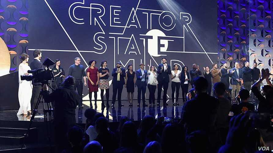 Finalists appear on stage as WeWork presents Creator Awards Global Finals at the Theater at Madison Square Garden on Jan. 17, 2018 in New York City.