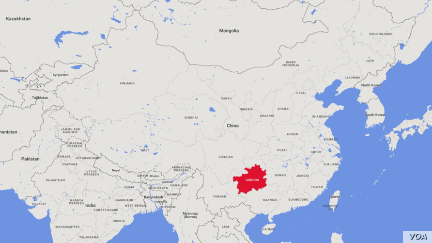 Map of China highlighting Guizhou Province