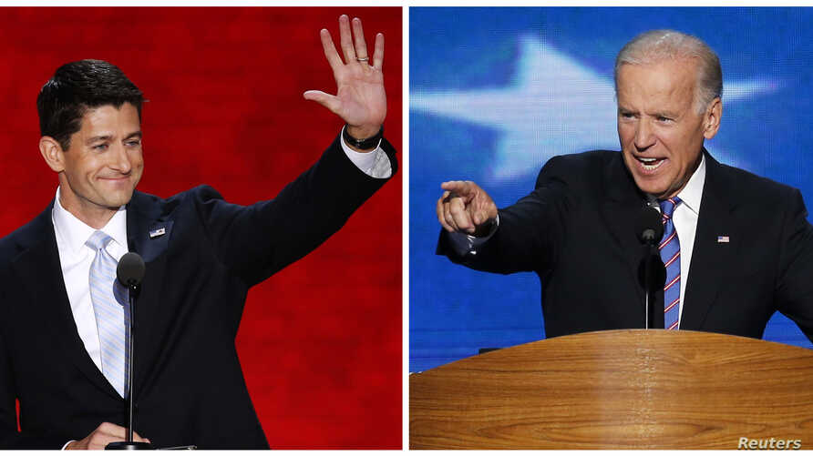 Vice President Joe Biden (R) speaking in Charlotte, North Carolina September 6, 2012, and Republican vice presidential nominee Paul Ryan, speaking in Tampa, Florida, August 29, 2012, are shown in this combination photo.