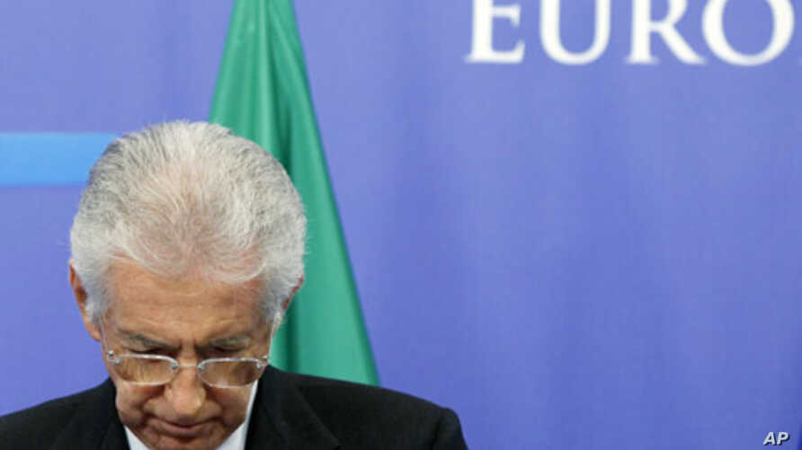 Italy's Prime Minister Mario Monti addresses a news conference at the EU Council in Brussels, November 22, 2011.