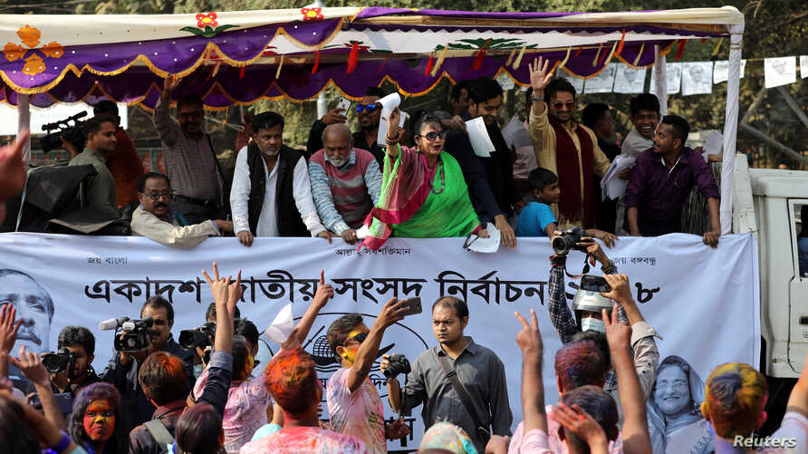 Bangladeshi local media celebrities join an election campaign for the Bangladesh Awami League ahead of the general election in Dhaka, Bangladesh, Dec.13, 2018.