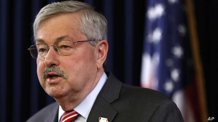 FILE - Iowa Gov. Terry Branstad speaks during his weekly news conference, May 23, 2017, at the Statehouse in Des Moines, Iowa. Branstad is the next U.S. ambassador to China in the Trump administration.