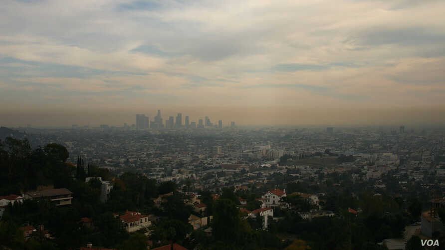 Air pollution is seen hanging over the city of Los Angeles. Six of the 10 cities with the worst air pollution are in California, according to a new report. (Flickr)