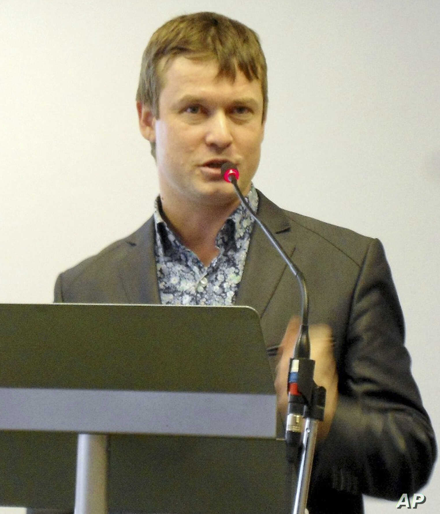Leonid Razvozzhayev speaks at an undisclosed location in this undated photo provided by Associated Press Television News.