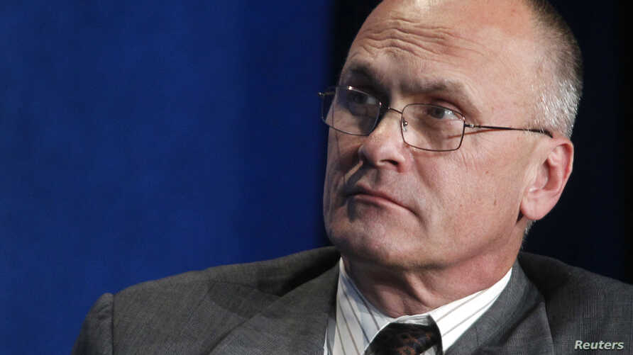 """Andrew Puzder, CEO of CKE Restaurants, takes part in a panel discussion titled """"Understanding the Post-Recession Consumer"""" at the Milken Institute Global Conference in Beverly Hills, California  April 30, 2012."""