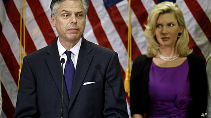 Republican presidential candidate, former Utah Gov. Jon Huntsman, accompanied by his wife Mary Kaye Huntsman, announces he is ending his campaign in Myrtle Beach, S.C., January 16, 2012.