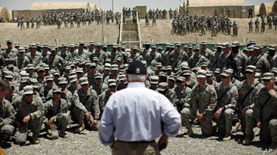 U.S. Secretary of Defense Robert Gates addresses troops at Forward Operating Base (FOB) Sharana in Paktika Province, Afghanistan, June 6, 2011
