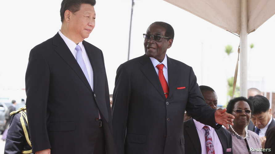 Chinese President Xi Jinping talks with Zimbabwean President Robert Mugabe on arrival for a state visit in Harare, Zimbabwe, Dec. 1, 2015.