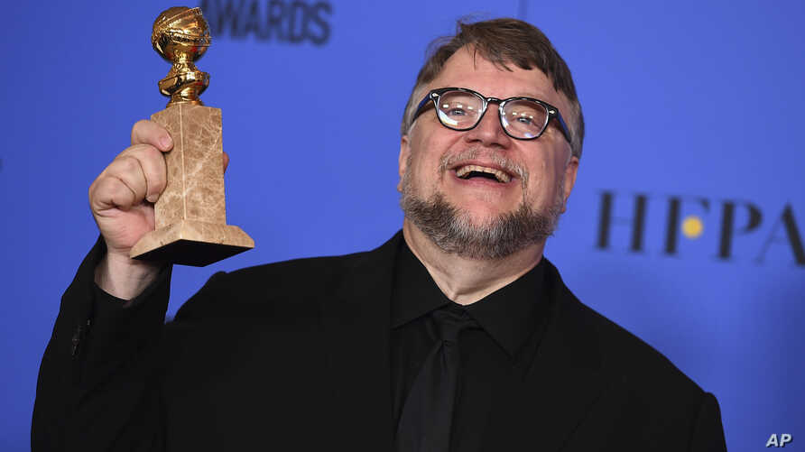 "Guillermo del Toro poses in the press room with the award for best director - motion picture for ""The Shape of Water"" at the 75th annual Golden Globe Awards at the Beverly Hilton Hotel on Jan. 7, 2018, in Beverly Hills, Calif."