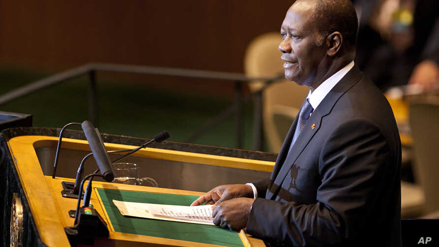 FILE - Alassane Ouattara, the President of Ivory Coast, speaks during the 66th session of the United Nations General Assembly at U.N. headquarters.