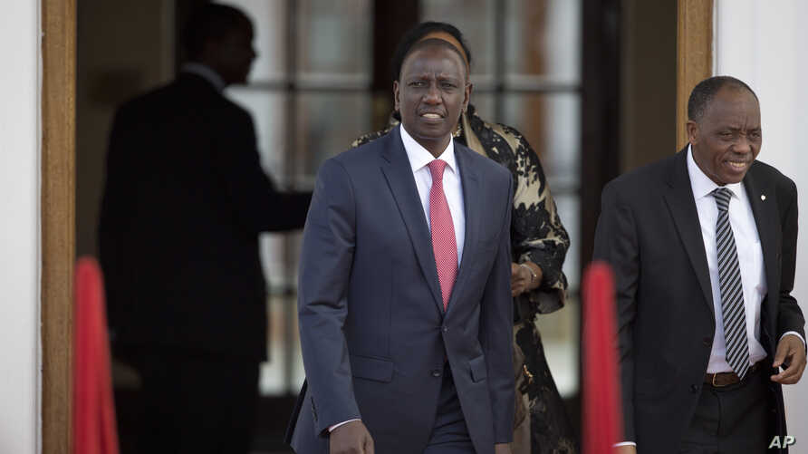 FILE - Kenya's Deputy President William Ruto arrives to attend a press conference given by President Barack Obama and Kenya's President Uhuru Kenyatta at State House in Nairobi, Kenya, July 25, 2015.