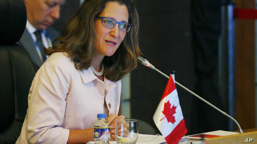 Canadian Foreign Minister Chrystia Freeland delivers her statement during the ASEAN-Canada ministerial meeting of the 50th ASEAN foreign ministers' meeting and its dialogue partners, Aug. 6, 2017 in suburban Pasay city, south Manila, Philippines.