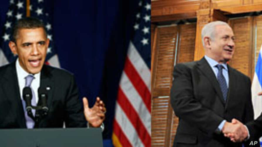 (L photo) U.S. President Barack Obama speaks at a campaign fundraiser in New York City, March 1, 2012 (R photo) Canada's Prime Minister Stephen Harper (R) meets with Israel's Prime Minister Benjamin Netanyahu in Ottawa, March 2, 2012