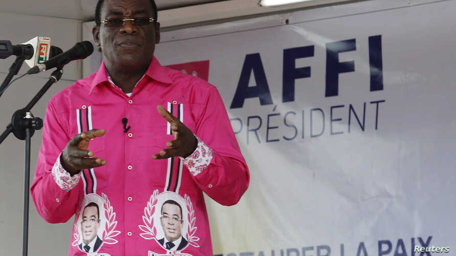 """FILE - FPI leader Pascal Affi Nguessan, shown during a campaign rally last October in Gagnoa, Ivory Coast, says his delegation's meeting with Ivorian President Alassane Ouattara on Jan. 21, 2016, produced """"real progress"""" toward resolving differences"""