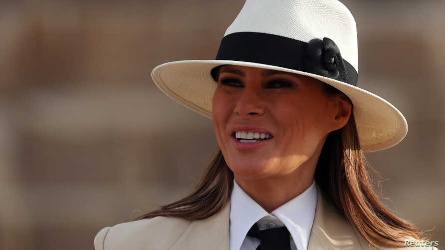 U.S. first lady Melania Trump tours the pyramids of Egypt in Cairo, Egypt, Oct. 6, 2018.