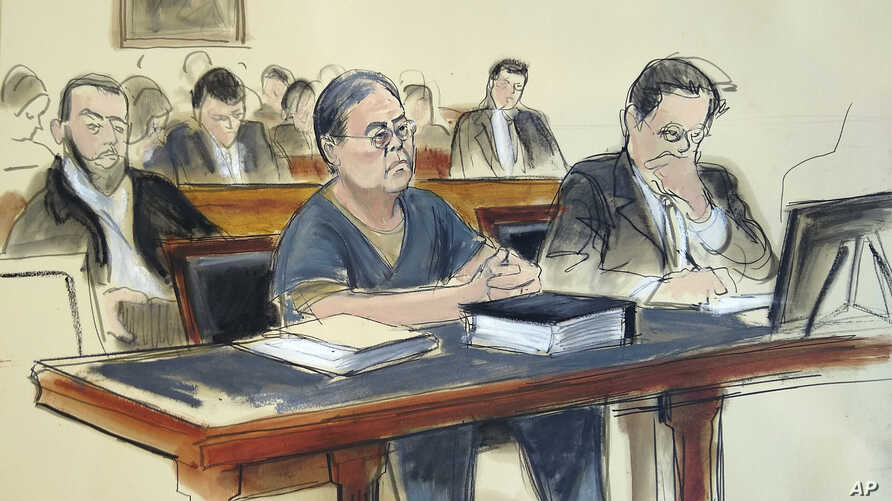 In this March 25, 2019 courtroom sketch, former Hong Kong home affairs secretary Dr. Chi Ping Patrick Ho, center, is sentenced to three years in prison after he was convicted of paying bribes to the presidents of two African countries in a United Nat