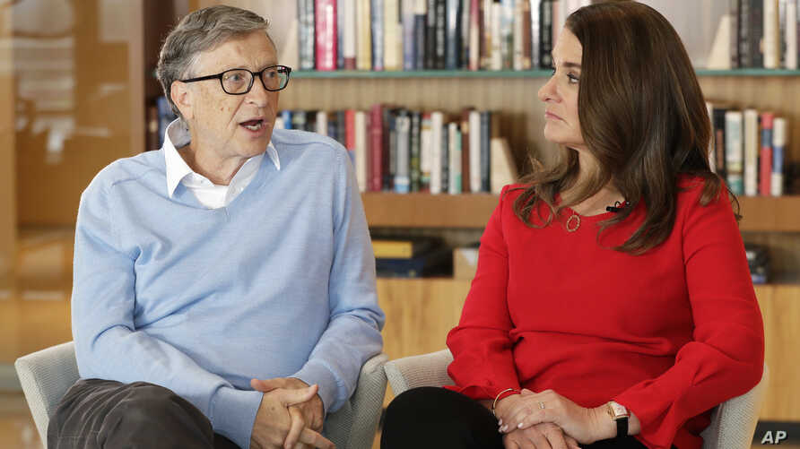 Microsoft co-founder Bill Gates and his wife Melinda take part in an interview with The Associated Press in Kirkland, Wash., Feb. 1, 2018.