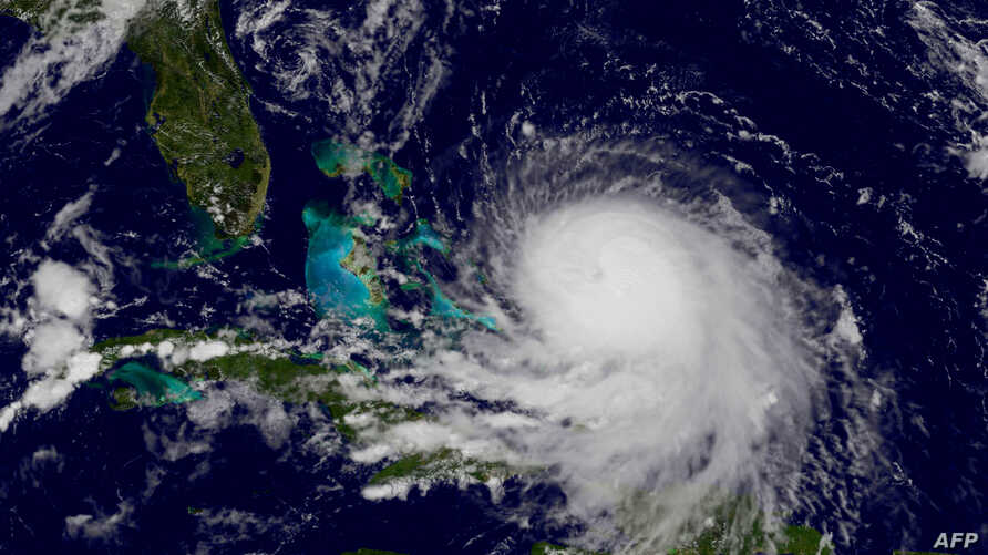 Hurricane Joaquin is shown off the Bahamas, Sept. 30, 2015. The U.S. National Hurricane Center said Hurricane Joaquin is headed toward the Bahamas with powerful winds and torrential rain.