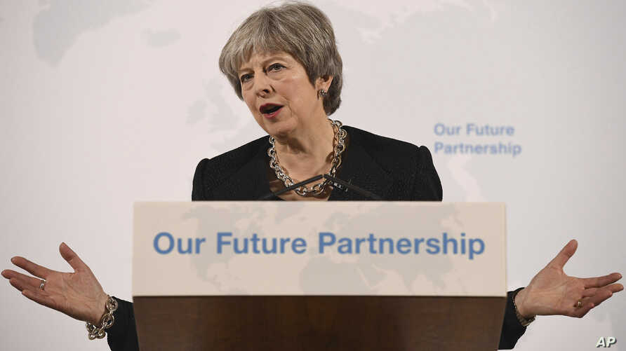 Prime Minister Theresa May delivers a speech on Britain's exit strategy from the European Union, at Mansion House, London, March 2, 2018.