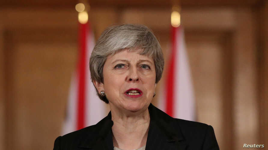 Britain's Prime Minister Theresa May makes a statement about Brexit in Downing Street in London, March 20, 2019.