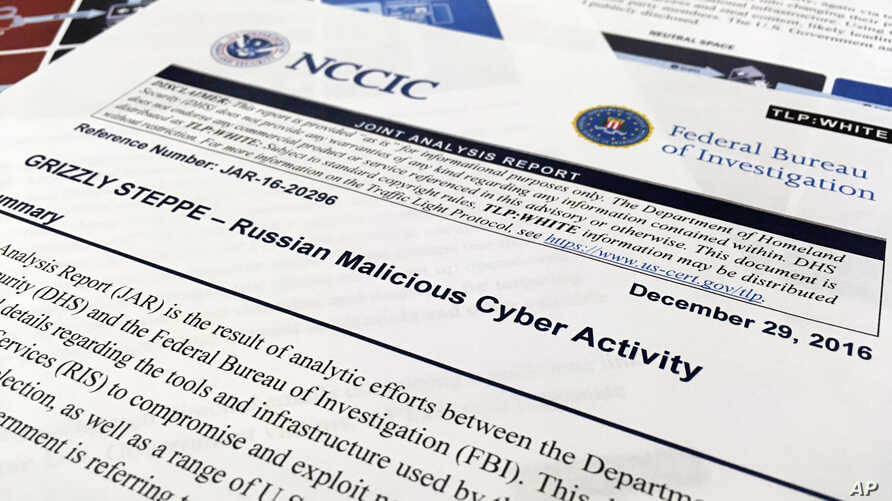 The first page of the Joint Analysis Report narrative by the Department of Homeland Security and federal Bureau of Investigation and released on Dec. 29, 2016, is photographed in Washington, Jan. 6, 2017.