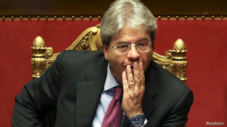 FILE - Italy's Foreign Minister Paolo Gentiloni attends a Senate in Rome, Italy, April 5, 2016.