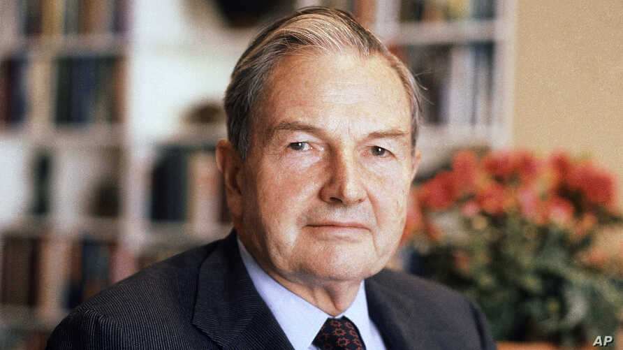 FILE - In this April 31, 1981, file photo, David Rockefeller poses for a photograph. The billionaire philanthropist who was the last of his generation in the famously philanthropic Rockefeller family died, March 20, 2017, according to a family spokes