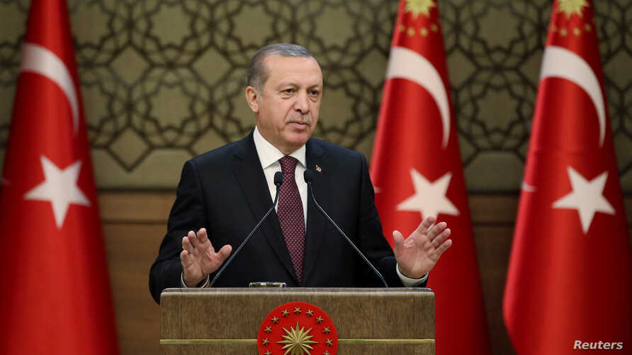Tayyip Erdogan addresses a gathering of local leaders  in Ankara, Turkey, Dec. 1, 2016. The Turkish president has recently been faced with rising tensions concerning Iran.