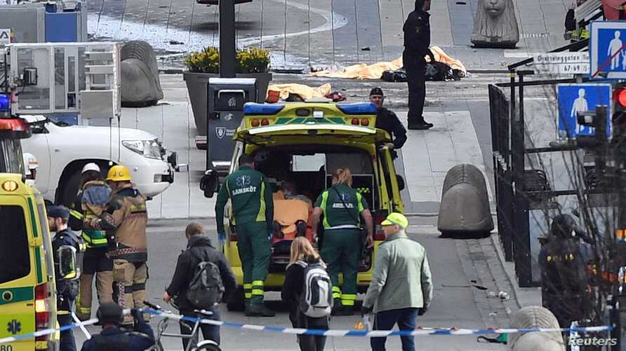 People were killed when a truck crashed into a department store in Stockholm, Sweden, April 7, 2017.