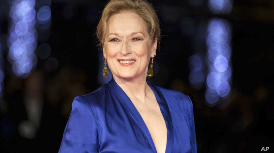 "FILE - Meryl Streep appears at the premiere of the film ""Suffragette,"" at the opening gala of the London film festival in London, Oct. 7, 2015."