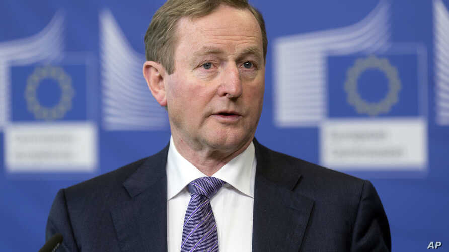 Irish Prime Minister Enda Kenny speaks at EU headquarters in Brussels, Feb. 23, 2017. Kenny will make the tradition St. Patrick's Day visit to the White House Friday.